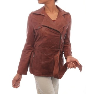 Cole Haan  Leather Asymmetrical Wrapped Coat Wrap BRN