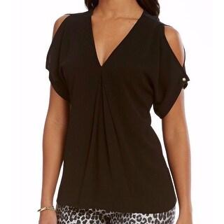Michael Kors NEW Black Womens Small S Invert-Pleat Cold-Shoulder Blouse