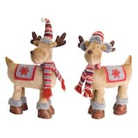 Pack of 2 Brown and Red Deer with Hat Tabletop Decorative Figures 24""