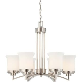 Nuvo Lighting 60/4105 Harmony Six Light Chandelier with Satin White Glass
