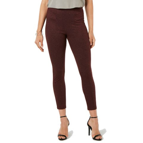 Hue Women's Tweed High-Waist Knit Pull-On Leggings, Sangria, L