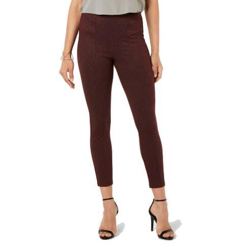 Hue Women's Tweed High-Waist Knit Pull-On Leggings, Sangria, M