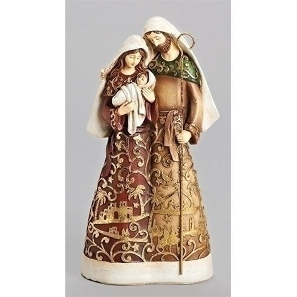 "9.75"" Gold Leaf Papercut Look Holy Family Christmas Table Top Figure - WHITE"