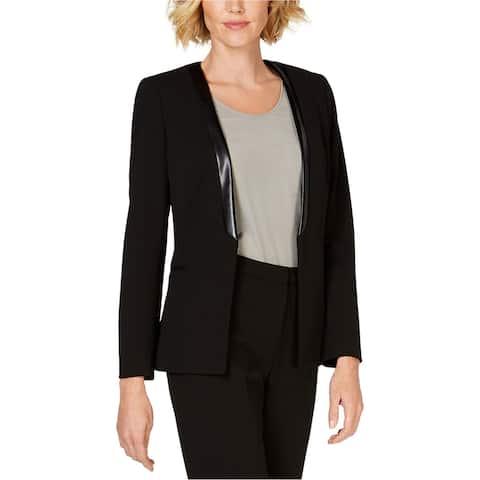 Kasper Womens Faux Leather Shawl Collar Blazer Jacket, black, 10