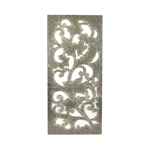"Brewster X2961128 Fetco 21-3/4"" x 47-3/4"" Cultural Corman Mirror Panel Sculptures on Wood - Silver"