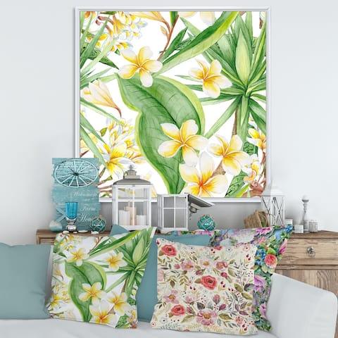Designart 'Tropical Foliage and Yellow Flowers VII' Modern Framed Canvas Wall Art Print