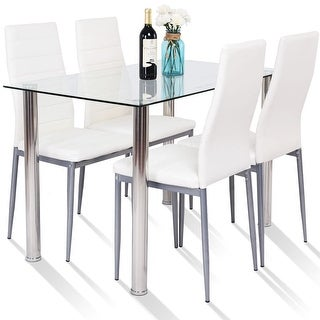 Gymax 5 Piece Table Chair Dining Set Glass Metal Kitchen Furniture