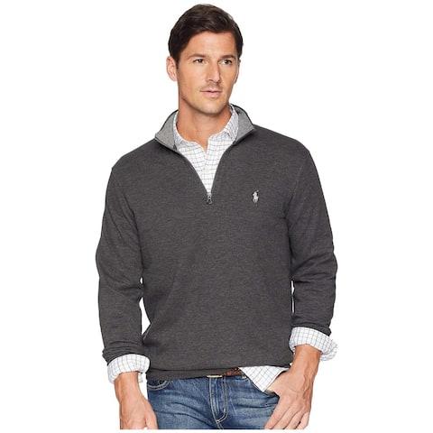 Polo Ralph Lauren Mens Jersey Quarter-Zip Pullover Sweater Small Grey Heather