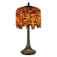 "22.5"" Red and Orange Shade Antique Bronze Pebblestone Wisteria Hand Rolled Art Glass Table Lamp"