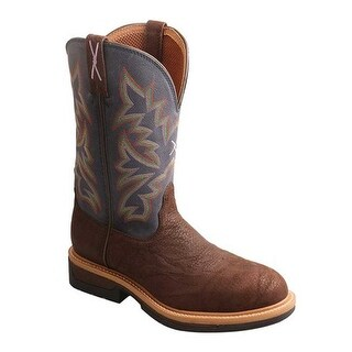 Twisted X Boots Men's MLCW025 Lightweight Cowboy Work Boot Brown/Dark Blue Leather