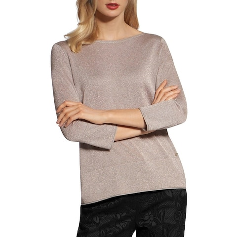 Basler Womens Plus Adventure Time Sweater Metallic Pullover - Gold