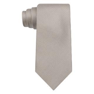 Calvin Klein CK Light Brown Salt Pepper Solid Slim Width Silk Tie Necktie