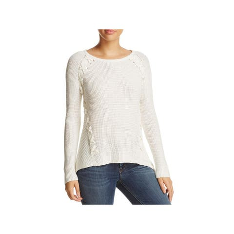 Design History Womens Sweater Ribbed Knit Lace-Up - Pearl - XL