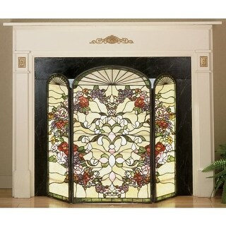 Meyda Tiffany 47991 Stained Glass / Tiffany Fireplace Screen from the Roses in B