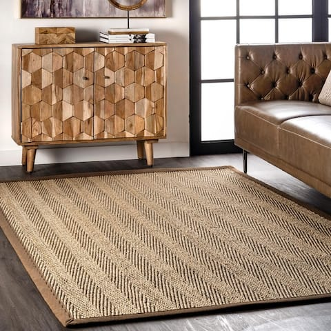 The Curated Nomad Vidua Seagrass Fiber Chevron Area Rug