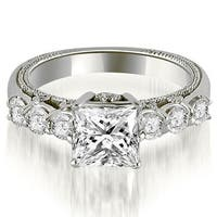 1.25 cttw. 14K White Gold Princess and Round Cut Diamond Engagement Ring