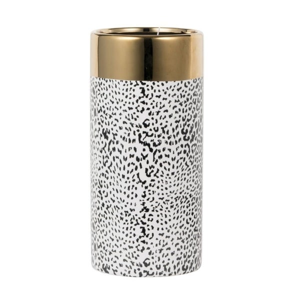 """11.75"""" Matte Black and Gold Contemporary Style Vase - N/A"""