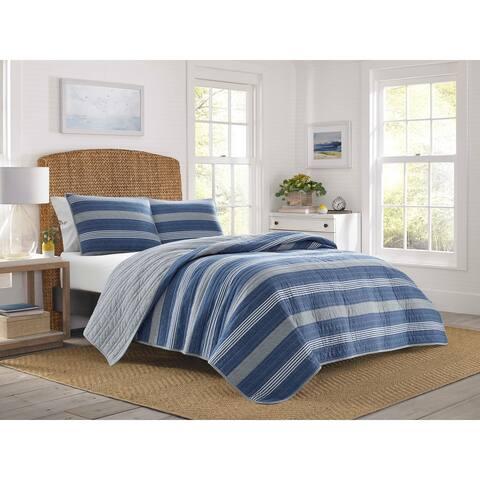 Nautica Saltmarsh Cotton Reversible Blue Quilt Set