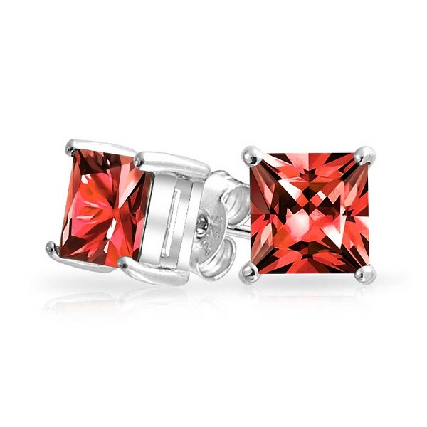 d9a3d99ab Shop 1CT Red Square Cubic Zirconia Brilliant Princess Cut CZ Stud Earrings  925 Sterling Silver Imitation Ruby 7MM - On Sale - Free Shipping On Orders  Over ...