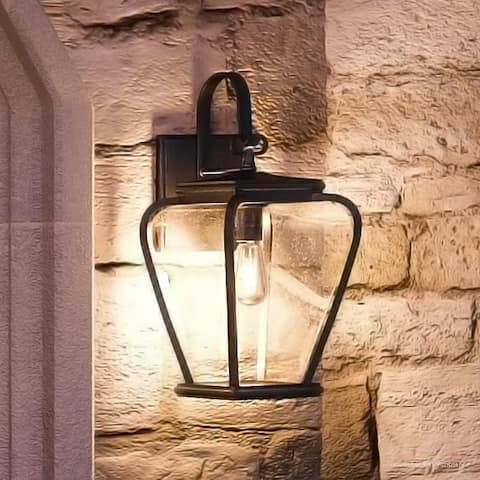 """Luxury French Country Outdoor Wall Light, 15.5""""H x 6.5""""W, with Mediterranean Style, Soft and Simple Design, Black Silk Finish"""