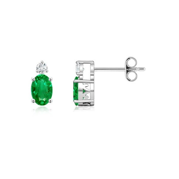 Angara Basket Set Oval Emerald Stud Earrings with Diamond in Silver
