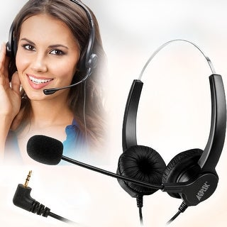 Hands-Free Noise Cancelling Binaural Headset Headphones with Mic/ Microphone for Panasonic Desk Phones