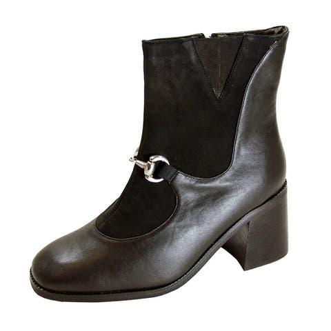 PEERAGE Darla Women's Extra Wide Width Inner Zipper Leather Booties