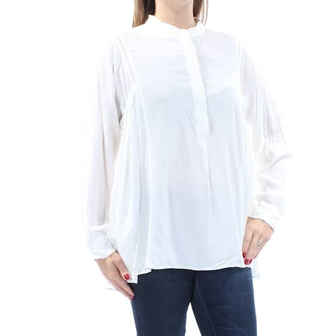 MAX STUDIO Womens Ivory Long Sleeve Crew Neck Top Size: L