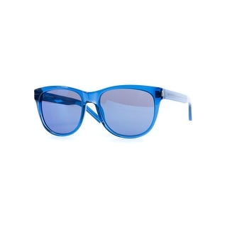 Saint Laurent Bold 5 Rectangular Blue Frame Mirrored Sunglasses