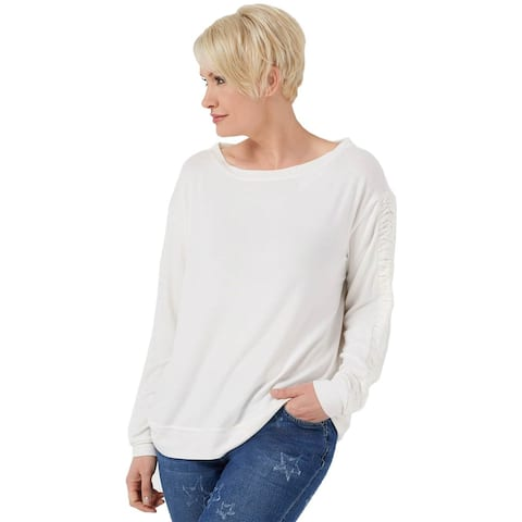 Peace Love World Womens Comfy Top W/ Ruched Sleeve Small Pristine Ivory A353713