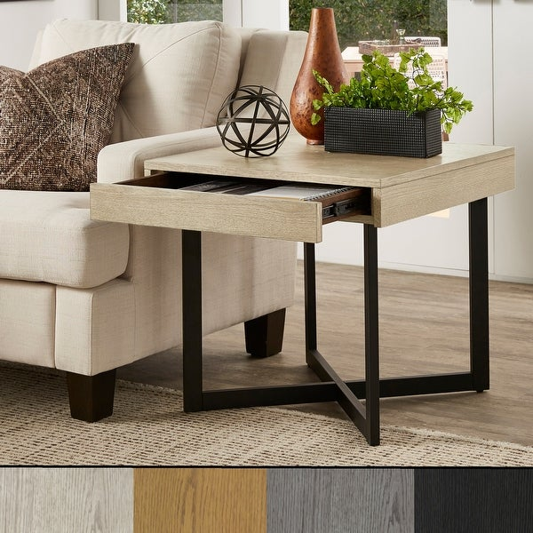 Eldersley Wood Finish End Table with One Drawer by iNSPIRE Q Modern. Opens flyout.