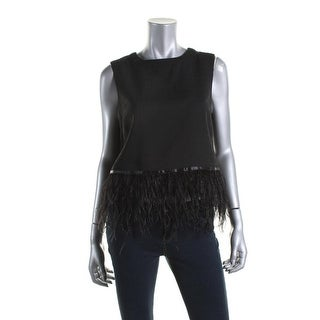Endless Rose Womens Feather Trim Sleeveless Casual Top