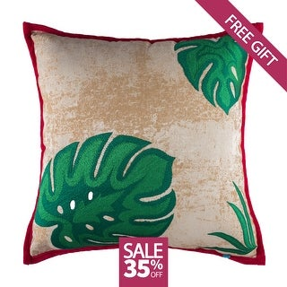 Tropical Embroidered Decorative Handmade Cotton Throw Pillow Cover, 18x18
