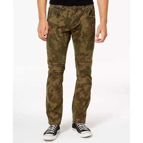 INC International Concepts Men's Slim-Fit Stretch Camo Moto Jeans Green Size 32
