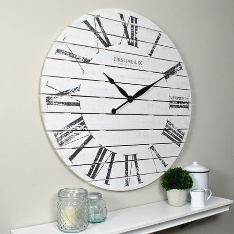FirsTime & Co.® Farmhouse Shiplap Wall Clock, American Crafted, White, Wood, 29 x 2 x 29 in - 29 x 2 x 29 in