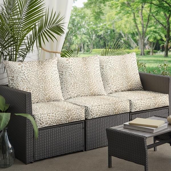 Sunbrella Tan Leopard Indoor/Outdoor Deep Seating Sofa Set, Corded. Opens flyout.