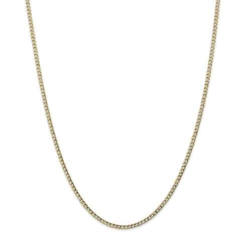 10K Yellow Gold 2.5mm Semi-solid Polished Curb Link Chain by Versil