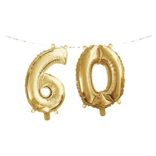"""Club Pack of 24 Gold Metallic """"60"""" Party Foil Balloon Banners 9.8"""""""