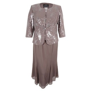 Alex Evenings Women's Sequined Chiffon Dress and Jacket