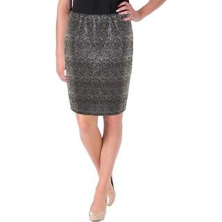 Aqua Womens Pencil Skirt Metallic Pull On (Option: Silver)