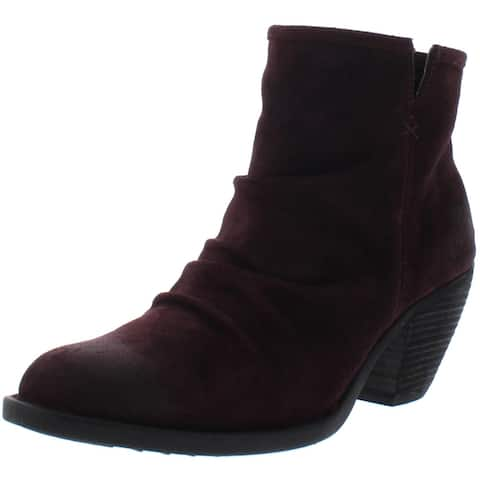 Born Womens Aire Ankle Boots Suede Slouch - Burgundy Suede