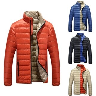 Ultralight Men Down Jacket Winter Stand-up Collar Long Sleeve Solid Color Coat