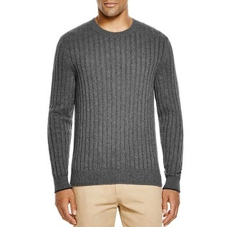 Bloomingdales Mens 2-Ply Cashmere Crewneck Ribbed Sweater X-Large Ash Knitwear