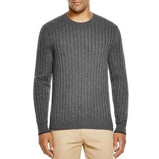Bloomingdales Mens 2-Ply Cashmere Crewneck Ribbed Sweater XX-Large Ash Knitwear