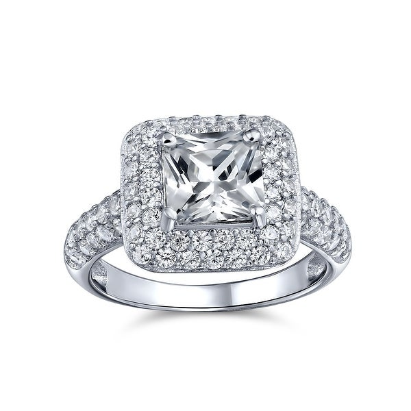 3CT Princess Cut Solitaire AAA CZ Halo Engagement Ring Sterling Silver. Opens flyout.