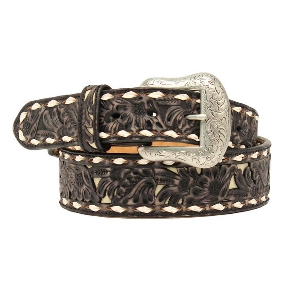 Nocona Western Belt Mens Embossed Overlay Lacing Black