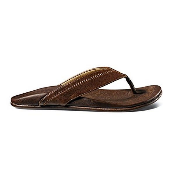 Men's Olukai Hiapo Leather Sandals, Teak/Teak, Size 13 - 13 d(m) us