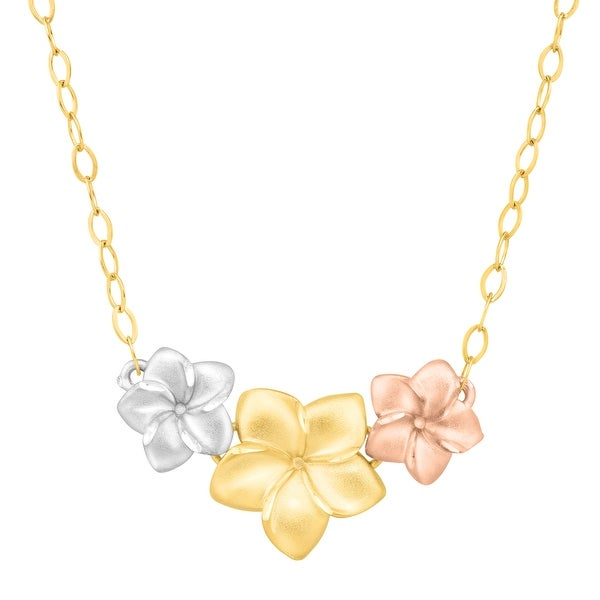 Three-Tone Floral Garland Necklace in 14K Gold-Plated Sterling Silver