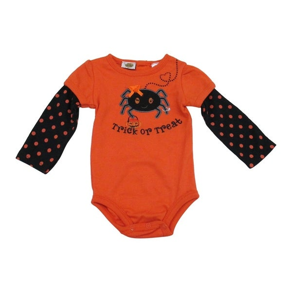 "Baby Girls Orange ""Trick or Treat"" Print Polka Dot Long Sleeve Bodysuit 12-24M"
