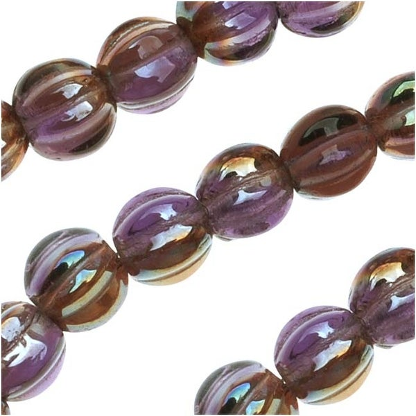 Czech Pressed Glass - Round Melon Beads 5mm Diameter 'Tanzanite Celsian' (50)